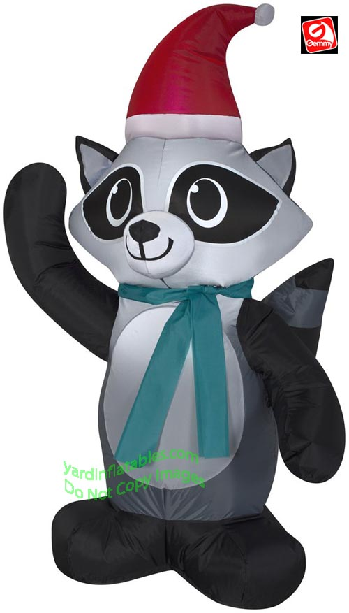 3 1/2' Gemmy Airblown Inflatable Christmas Raccoon Wearing Santa Hat