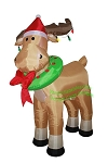 6' Air Blown Inflatable Reindeer w/ Santa Hat and Wreath