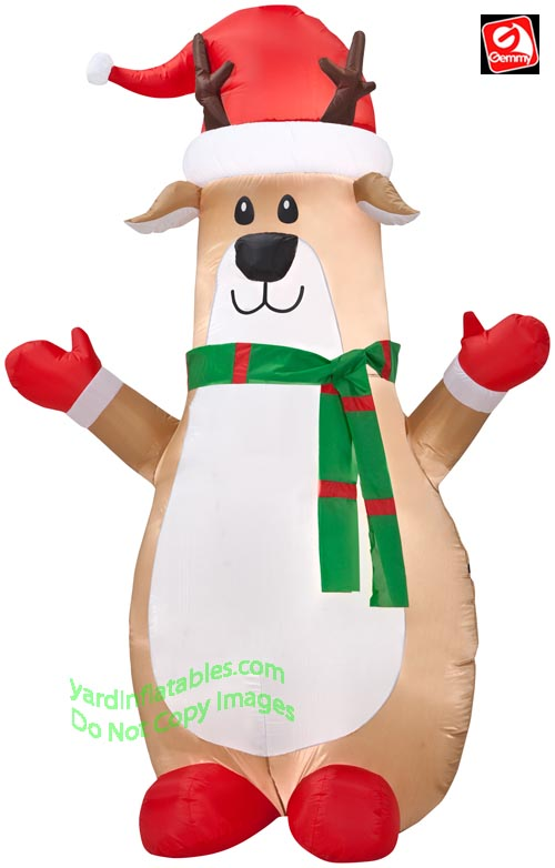 7' Gemmy Airblown Inflatable Bowling Pin Reindeer Wearing Santa Hat