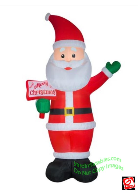 12' Gemmy Airblown Inflatable Santa w/ Merry Christmas Sign