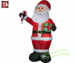 12' Giant Santa Holding Present & Candy Cane