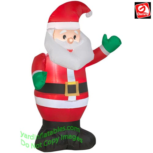 3 1/2' Gemmy Airblown Inflatable Santa Waiving Green Mittens