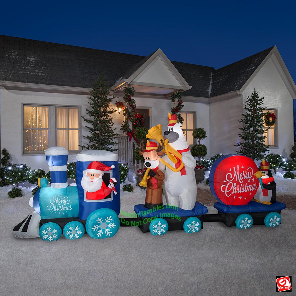 Gemmy Christmas Inflatables 2019.16 Airblown Inflatable Christmas Train W Marching Band Scene