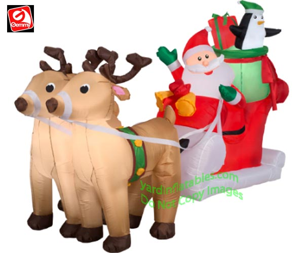 8' Gemmy Airblown Inflatable Santa w/ Sleigh and 2 Reindeer Scene