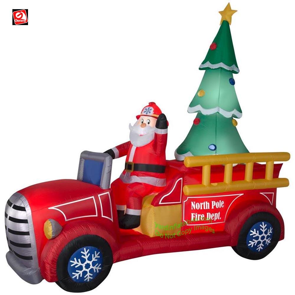 9' Gemmy Airblown Inflatable Santa Firetruck w/ Christmas Tree