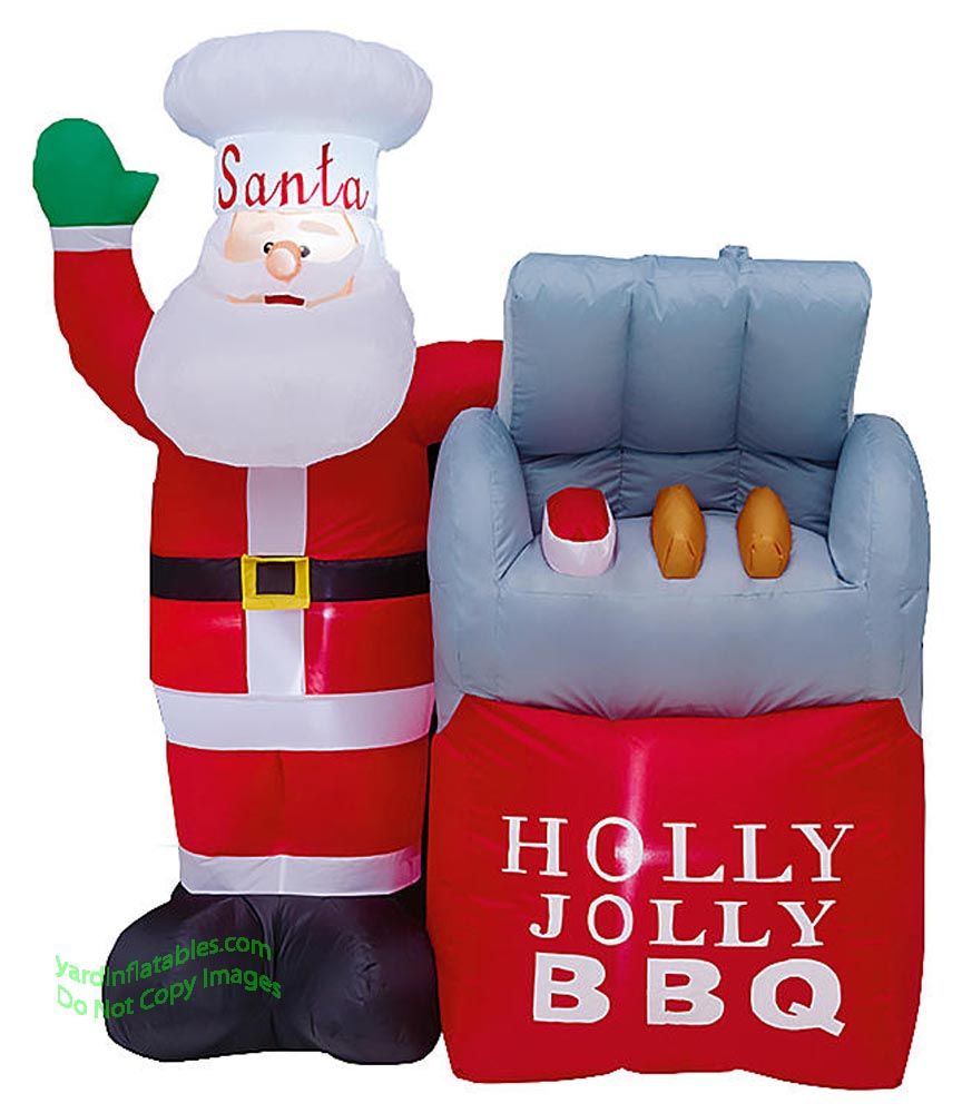 5' Air Blown Inflatable Santa Holly Jolly BBQ Grill Scene