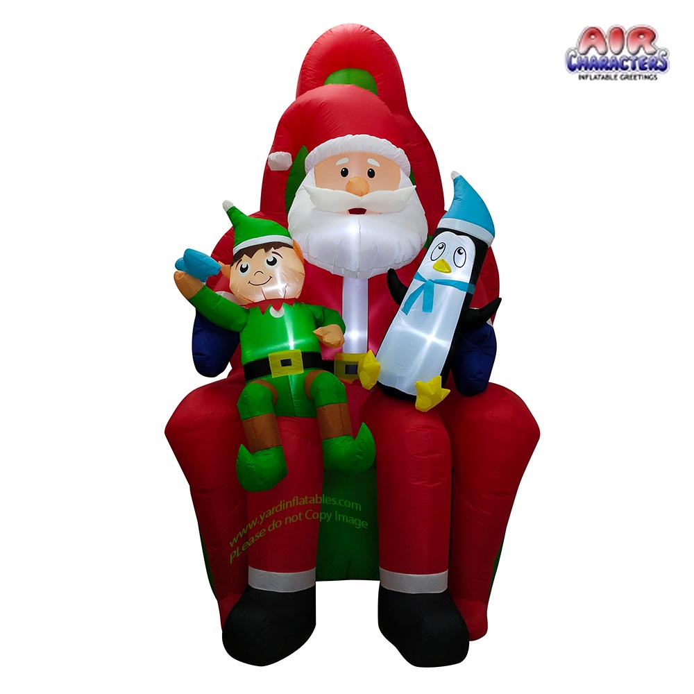 10' Air Blown Inflatable Santa w/ Penguin and Elf Scene