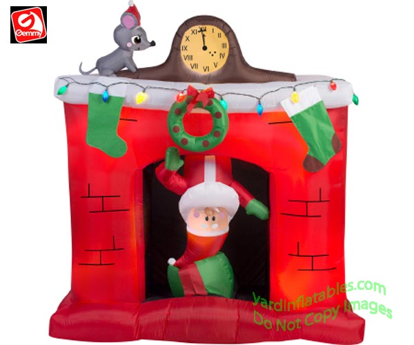 6' Gemmy Airblown Inflatable Animated Santa's Head Popping Down Fireplace Scene
