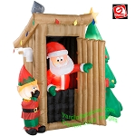 6 1/2' Gemmy Airblown Animated Inflatable Santa Outhouse Deluxe