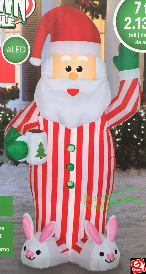 Gemmy Christmas Inflatables 2019.7 Airblown Inflatable Santa Claus In Pajamas