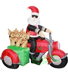 5 1/2' Air Blown Inflatable Santa on Motorcycle w/ Reindeer