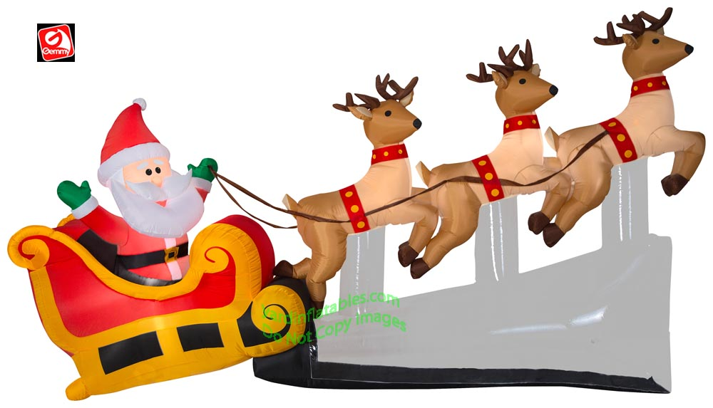 10 1/2' Gemmy Airblown Inflatable Santa and Sleigh w/ Reindeer Taking Off
