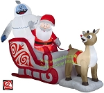 8' Gemmy Airblown Inflatable Rudolph, Santa, and Bumble In Sleigh