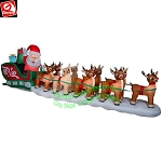 17 1/2' COLOSSAL Santa in Sleigh w/ Reindeer and Rudolph