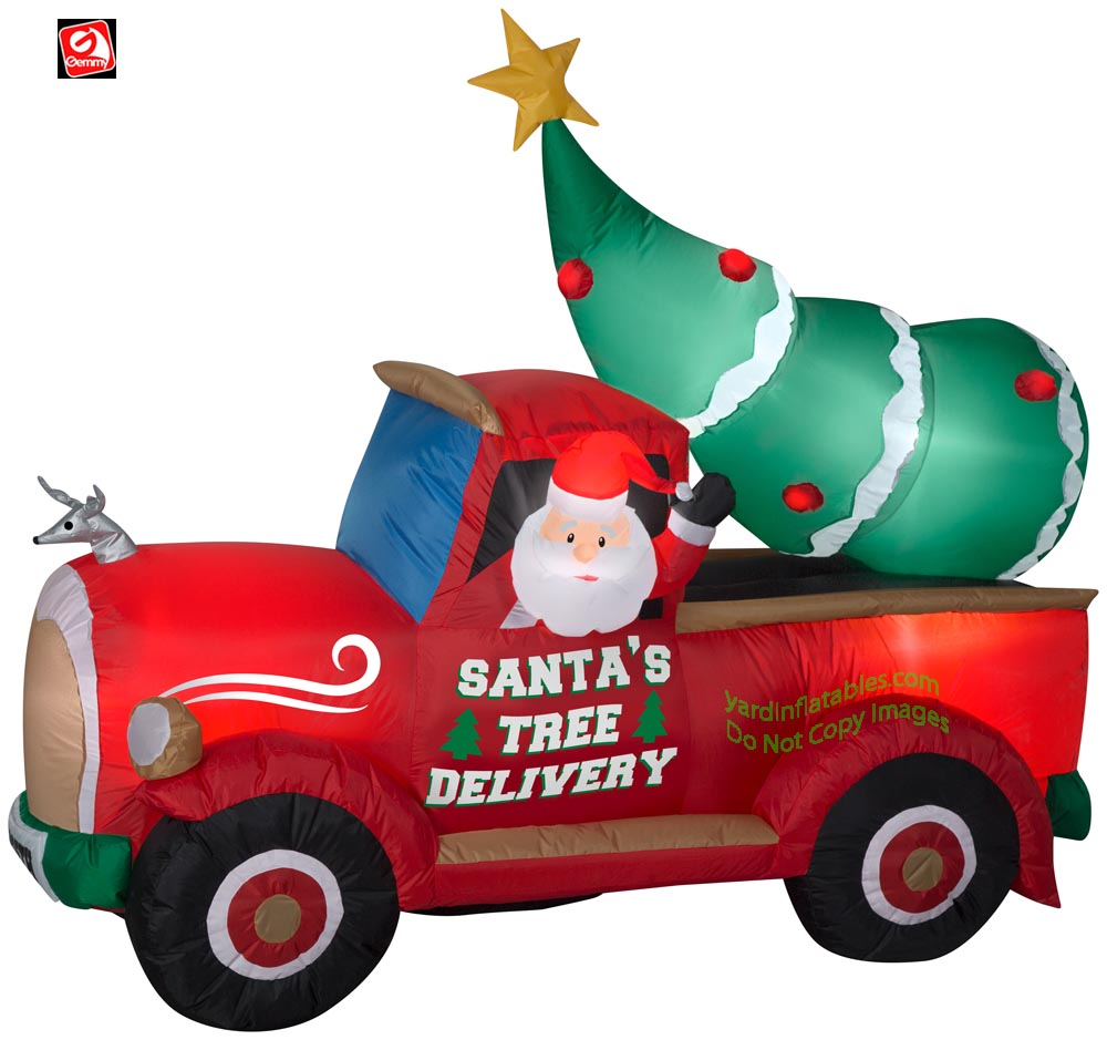 6' Gemmy Airblown Inflatable Santa's Tree Delivery Truck Scene