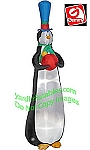 9' Gemmy Airblown Inflatable Skinny Slender Tall Tinsel Penguin Ornament