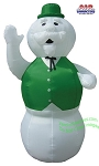 10' Air Blown Inflatable Snowman Wearing Green Vest