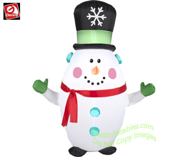 3 1/2' Gemmy Airblown Inflatable Snowman Wearing Top Hat & Red Scarf