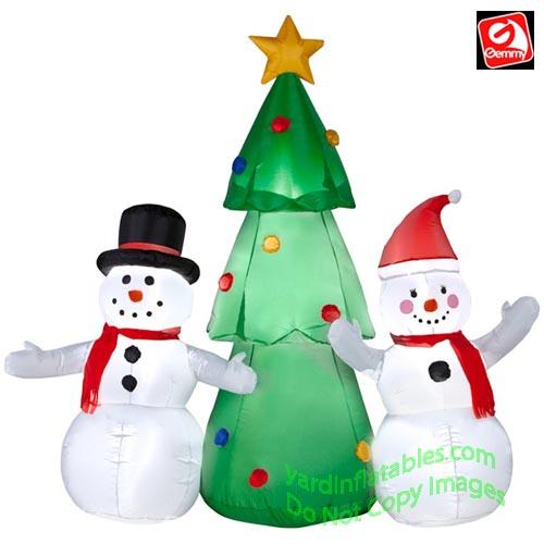 Inflatable Christmas Tree.5 Snowman Couple Christmas Tree Scene
