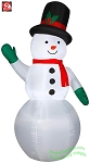 7' Snowman Green Mittens Red Scarf And Top Hat