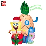 7' Gemmy Airblown Inflatable Mixed Media Nickelodeon Spongebob Squarepants Pineapple House Scene