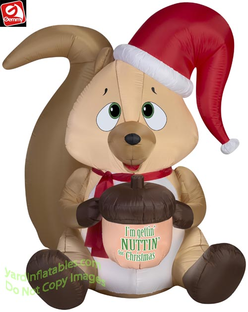 5' Gemmy Airblown Inflatable Squirrel Wearing Santa Hat Holding Acorn