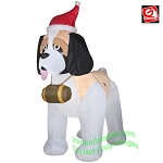 9' Gemmy Airblown Inflatable Christmas St Bernard Wearing Santa Hat
