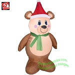 4' Teddy Bear Wearing Green Scarf & Santa Hat