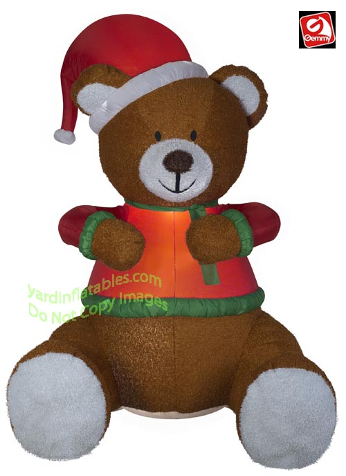 8 1/2' Gemmy Airblown Inflatable Animated Hugging Mixed Media Teddy Bear w/ Santa Hat