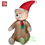 3 1/2' Teddy Bear Wearing Santa Hat