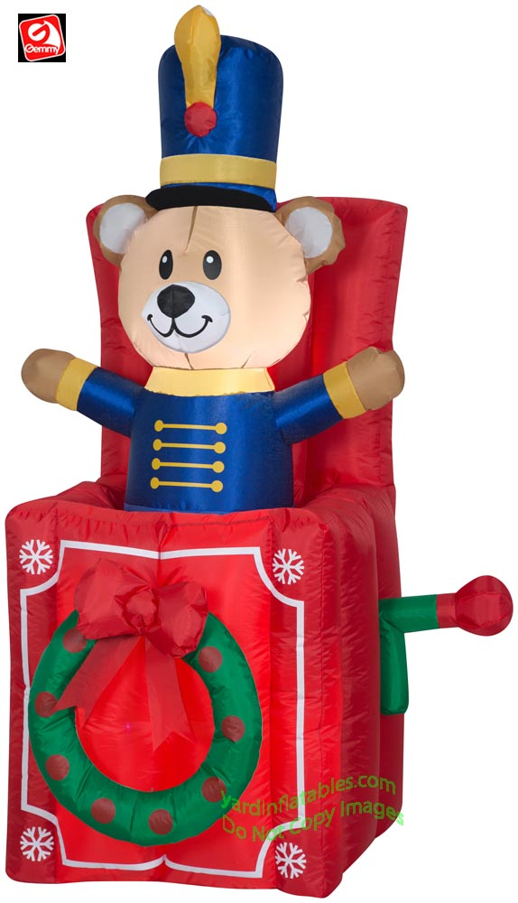 5' Gemmy Airblown Inflatable Christmas Animated Pop-up Teddy Bear in Box