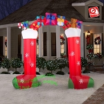 9 1/2' Gemmy Airblown Inflatable Archway w/ 2 Stockings & Presents