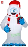 5' Gemmy Airblown Inflatable Bumble w/ Scarf and Christmas Present