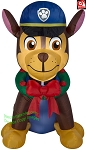 7' Gemmy Airblown Inflatable Paw Patrol's Chase w/ Wreath