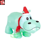 3 1/2' Gemmy Airblown Inflatable Christmas Hippo w/ Santa Hat