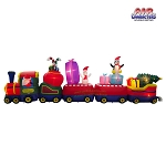21' Air Blown Inflatable Santa Christmas Train w/ Penguin, Snowman, Presents