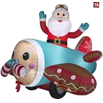 7' Gemmy Airblown Animated Inflatable Santa in Gingerbread Airplane