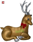 8 1/2' Gemmy Airblown Inflatable Mixed Media Golden Silvery Christmas Deer