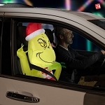 3 1/2' Gemmy Airblown Inflatable CAR BUDDY Grinch w/ Scarf
