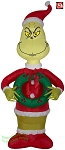 4' Airblown Inflatable Grinch Dressed As Santa Holding A Christmas Wreath