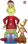 5' Gemmy Airblown inflatable Dr. Seuss' Grinch on Present Christmas Present W/ Max