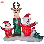6 1/2' Gemmy Airblown Inflatable Christmas Reindeer and Friends Jammies Scene
