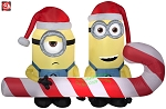 6' Gemmy Airblown Inflatable Minions Holding Candy Cane Scene