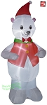 7' Gemmy Airblown Inflatable Polar Bear Wearing Red Vest