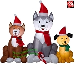 4' Airblown inflatable Christmas Dog Trio Scene