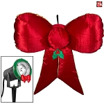 4 1/2' Gemmy Airblown Inflatable Mixed Media METALLIC Projection Hanging Red/Gold Christmas Bow