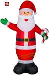 9' Gemmy Airblown Inflatable Santa Claus Holding Candy Cane
