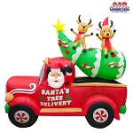 8' Air Blown Inflatable Santa's Christmas Tree Delivery Truck w/ Reindeer