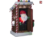 6' Gemmy Airblown Inflatable Animated Christmas Santa in Gingerbread Outhouse