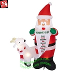 6' Gemmy Airblown Inflatable Santa Claus w/ Christmas Goat